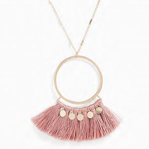 Torrid Gold Tone & Rose Fringe Pendant Necklace